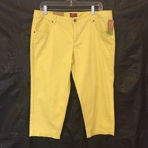 NWT Merona Yellow Stretch Capri Pants Fit 3